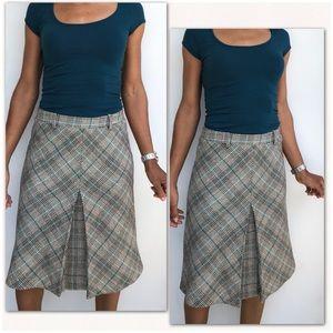 Zara Basic Plaid Checkered Pleated Pencil Skirt